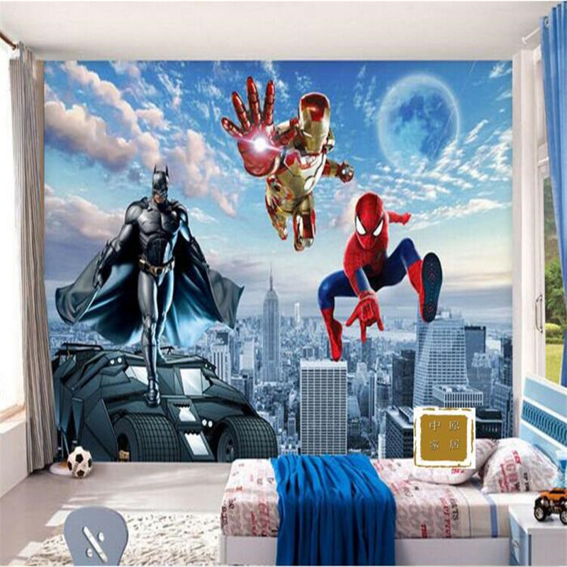 Photo wallpaper 3d wall paper hd cartoon children 39 s room for Batman bedroom wall mural