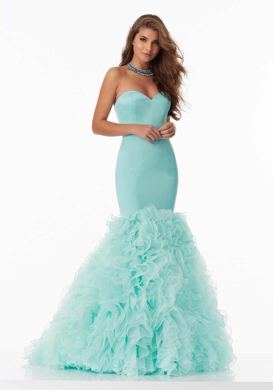 Coral Aqua Form Fitting Satin Mermaid Prom Dresses 2017 Sweetheart ...