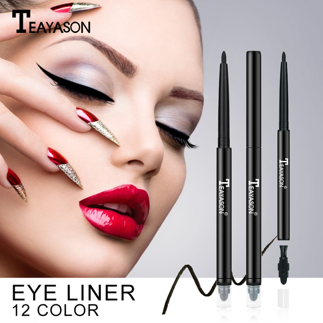 Teayason dual ended eyeliner pencil with sponge 12 color gold glitter eye liner waterproof long lasting matte eyeliner gel AM068 1