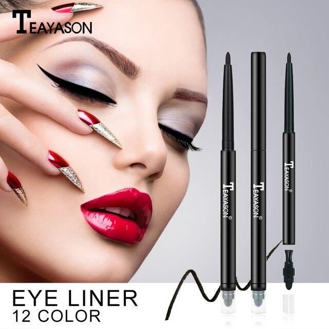 Teayason dual ended eyeliner pencil with sponge 12 color gold glitter eye liner waterproof long lasting matte eyeliner gel AM068 1