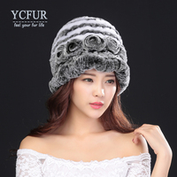 YCFUR Fashion Women Fur Berets Winter 2016 Knit Genuine Rex Rabbit Fur Beanies Flowers Hats Warm