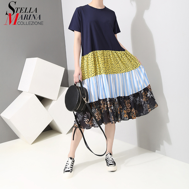 New 2019 Korean Style Women Summer Printed Dress O Neck Patchwork Short Sleeve Female Casual Wear A-Line Dress Robe Femme 5088