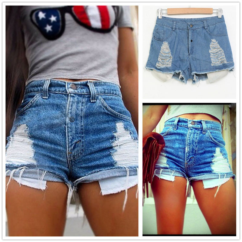 Ripped Shorts 2017 Women Skinny Short Wide Leg Pants Summer High Waist Frayed Hole Denim Short Pants Trouser Jeans Shorts Z4