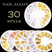 30 Styles Nail Art Alloy Nail Decoration Golden Silver Hollow Metal Decoration Nail Art Triangle Rhombus Nail Decoration NAN(China)