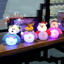 4pcs Cute Christmas Tree Ornament Decoration Doll Light Toy Santa Claus Snowman Bear Elk LED Night Light Doll Toy For Home Party cute holiday snowman doll lint cellucotton toy for christmas white red