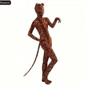 Image 2 - Ensnovo スパンデックスタイガーコスチュームコスプレタイツゼブラヒョウボディスーツユニタードボディスーツストレッチナイロンフルボディ動物衣装