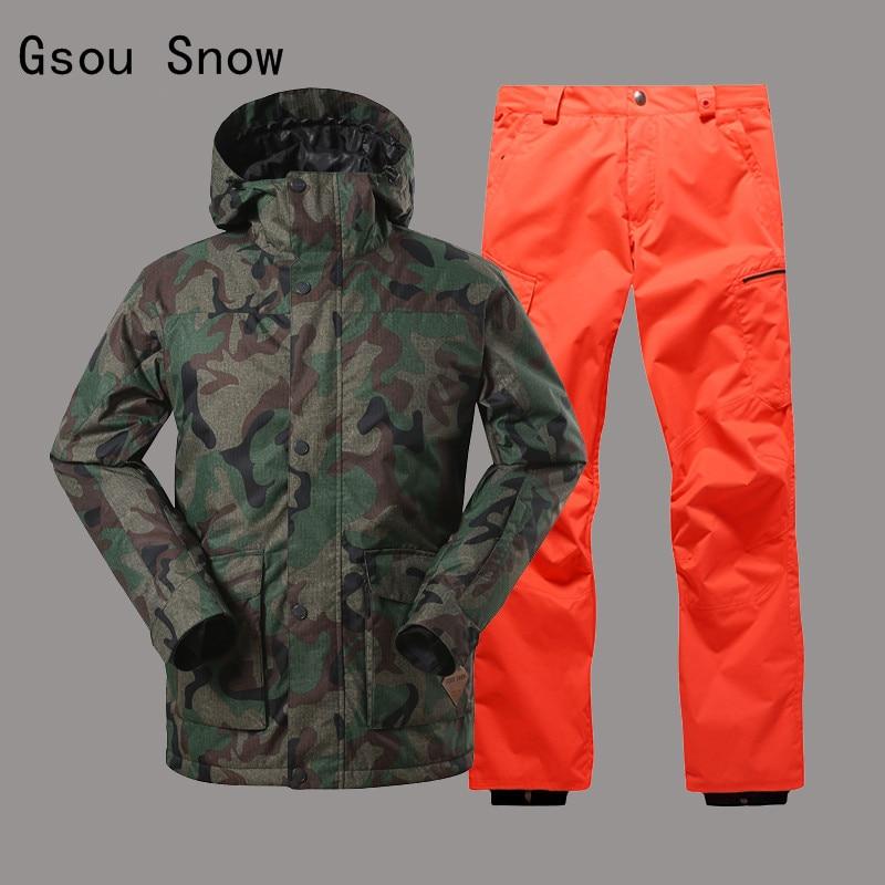 Click here to Buy Now!! Для мужчин лыжный костюм камуфляж Стиль Gsou Снег  ветрозащитный Водонепроницаемый Лыжный спорт Сноуборд супер теплая одежда  куртка ... 31232b2aa13