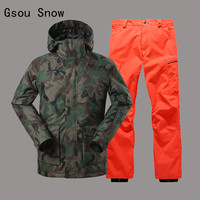 Men Ski Suit Camouflage Style Gsou Snow Windproof Waterproof Skiing Snowboard Super Warm Clothing Jacket+Pant Thicken Male Suit
