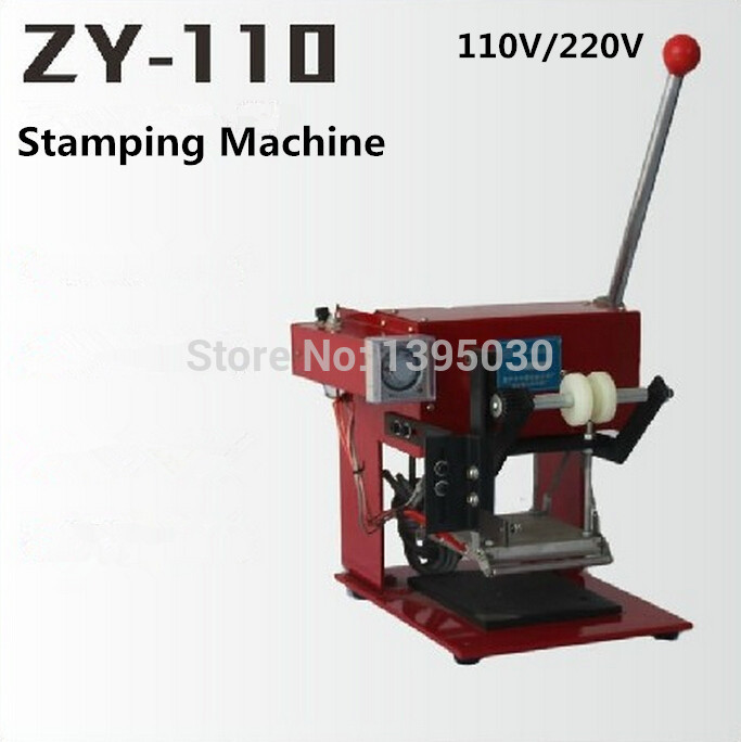 ZY-110 220V Manual Hot Foil Stamping Machine Manual Stamper Leather Embossing Machine Printing Area 110*120MM desktop pneumatic plane hot stamping foil machine lz 90 b card leather stamping shoes logo stamper