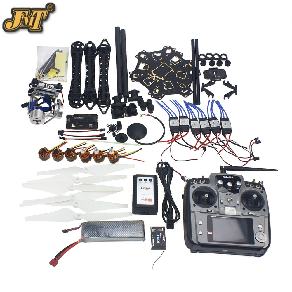 JMT Full Set RC Drone Aircraft Kit HMF S550 Frame 6M GPS APM 2.8 Flight Control AT10 Transmitter Gimbal Camera Mount jmt diy rc drone full set 6 axis aircraft kit with hmf s550 frame 6m gps apm 2 8 flight control at10 remote control