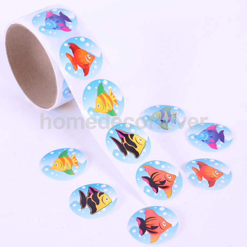 Scrapbook paper and stickers - 2 Rolls Of Tropical Fish Round Paper Stickers For Kid Scrapbook Decoration