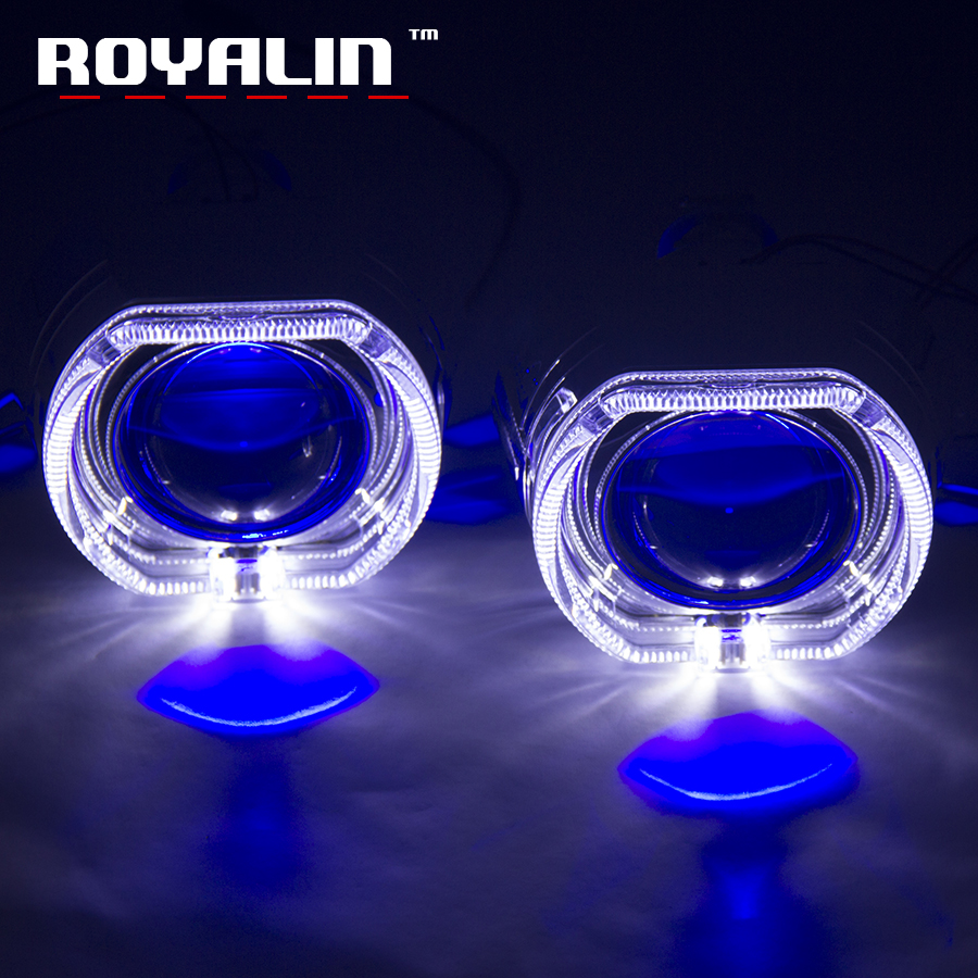 ROYALIN 2.5 Metal H1 Projector Lens For BMW Mini X5-R Switchback LED Angel Eyes Shrouds White Yellow Turn Singl Light H4 H7 DIY royalin bi xenon projector lens h1 for mc r double angel eyes ccfl halo rings white red blue w led demon evil eyes h4 h7 bulbs