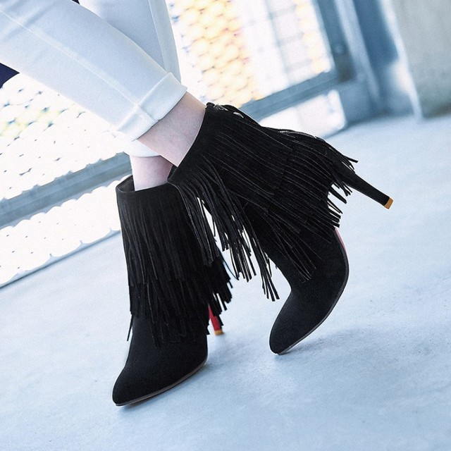 4ae85a0ca43 Hot Big size 34-43 Women Short tube boots Sexy high-heel pointed toes Spring  Autumn Winter shoes High-quality DL6-24