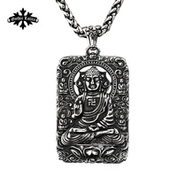 Buddha avalokitesvara Dog tag Stainless steel Necklace Patron saint Pendant Jewelry