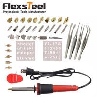 38PCS Electrical Wood Burning Soldering Iron Set Pyrography Tool Woodburning Soldering Pen Kit With Chisel Tips Blade Tweezers