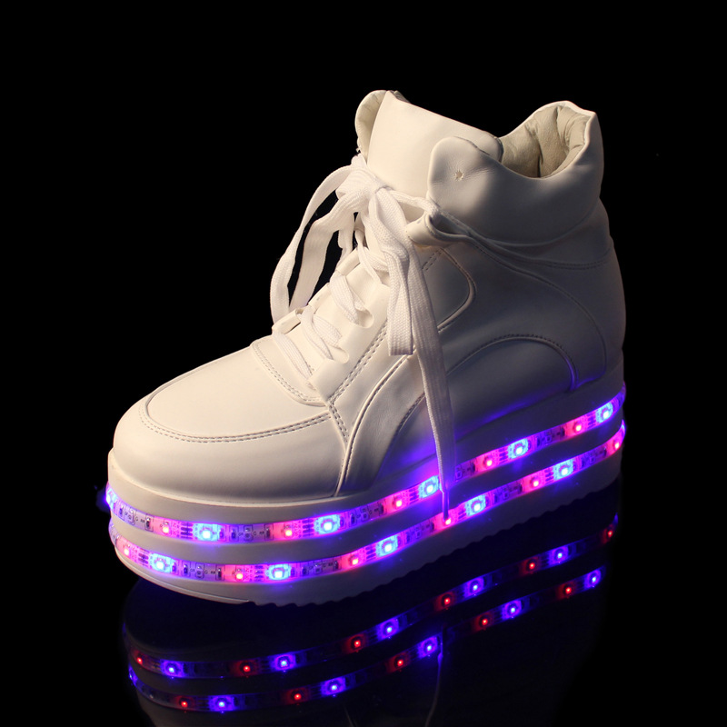 ФОТО Spring Women Casual LED Muffin Thick Bottom USB Rechargeable Lights Shoes Platform Light Up chaussure lumineuse Shoes for Adults