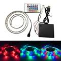 3528 SMD 60 LED Flexible RGB Rope Light with 24Keys Remote Controller TV Background Lighting Kit USB Cable 6V Battery LED Strip