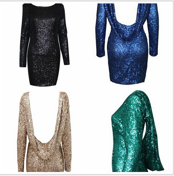 Drop shipping Fashion major Halter back sequin dress open back long sleeve  backless bodycon party dress 4 colors 617384ca3728