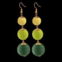 Bohemia Thread Ball Long Colorful Earrings for Women oorbellen Brincos Woolen Ball Ear Pendientes mujer Earrings Jewelry Party