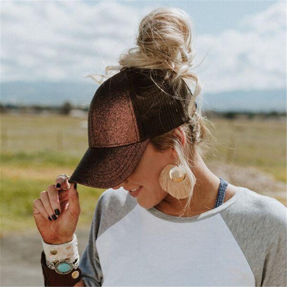 Ponytail Cap 2018 Glitter Women Baseball Cap Girls Messy