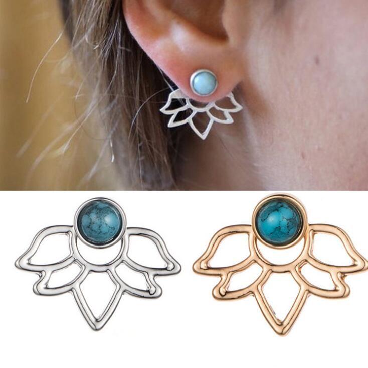 DIEZI Luxury Korean Fashion Gold Silver Lotus Earrings Blue Gem Stone Stud Earrings For Wedding Women