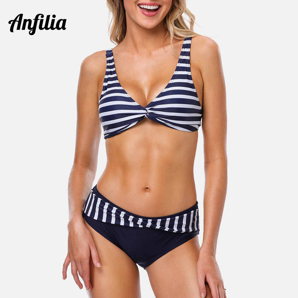 Anfilia Women Bikini Set Stripe Swimwear Strappy Adjustable Swimsuit Cross From Bathing Suit Padded Beachwear in Bikinis Set from Sports Entertainment