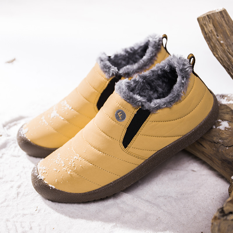 Winter Running Shoes For Men Short Plush Non-slip Rubber Sole Unisex Snow Boots Waterproof Keep Warm Women Sneakers For Run