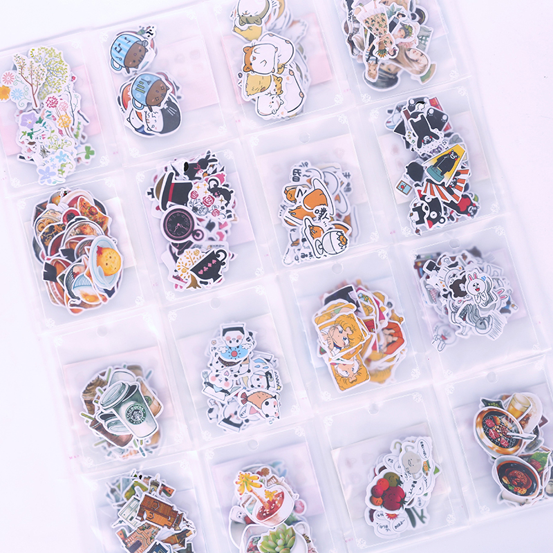 Kawaii Cartoon Stickers Animal Modeling Cute Sticker Bag DIY Bullet Journal Accessories Decoration School Stationery Wholesale