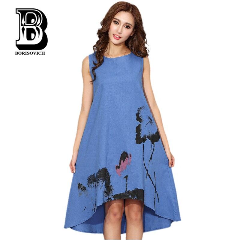New 2016 Fashion China Style Flower Print Sleeveless Comfortable Cotton Linen Casual Dress Women