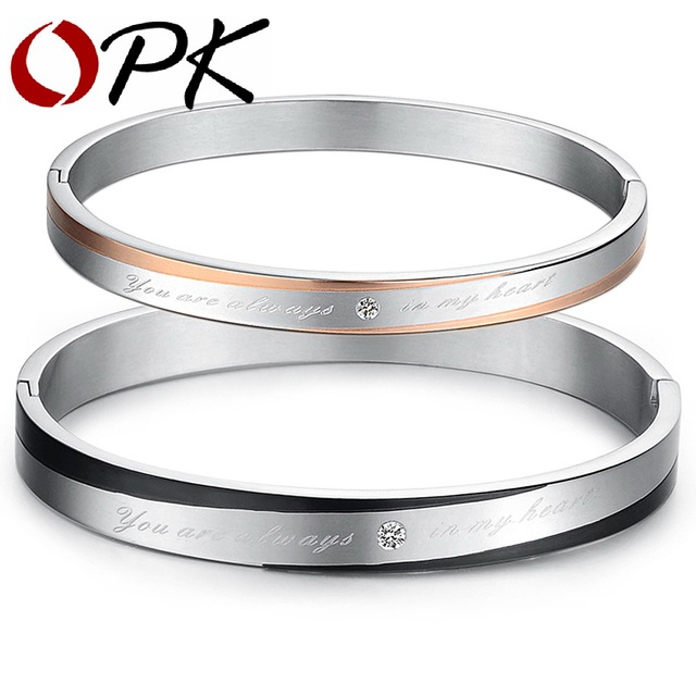 OPK FASHION JEWELRY BRACELET bangles for men and women jewelry 316L taniless steel free shipping 6-8MM 846