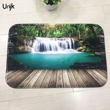 Urijk 1PC Newly 3D Printing Hallway Carpets Scenic Pattern Fleece Fabric Bathroom Home Decorative Carpet Floor Mat Rectangle(China)