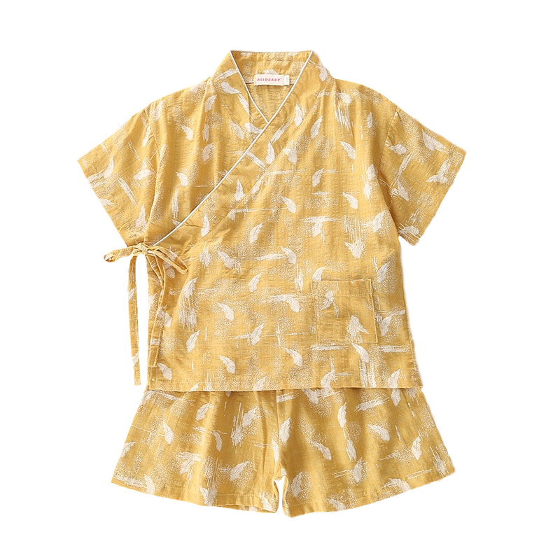 Japanese Style Summer Printing Kimono Girl Children Cotton Floral Costume Kids Kimono Underwear Pijamas Household Sleepwear Z951(China)