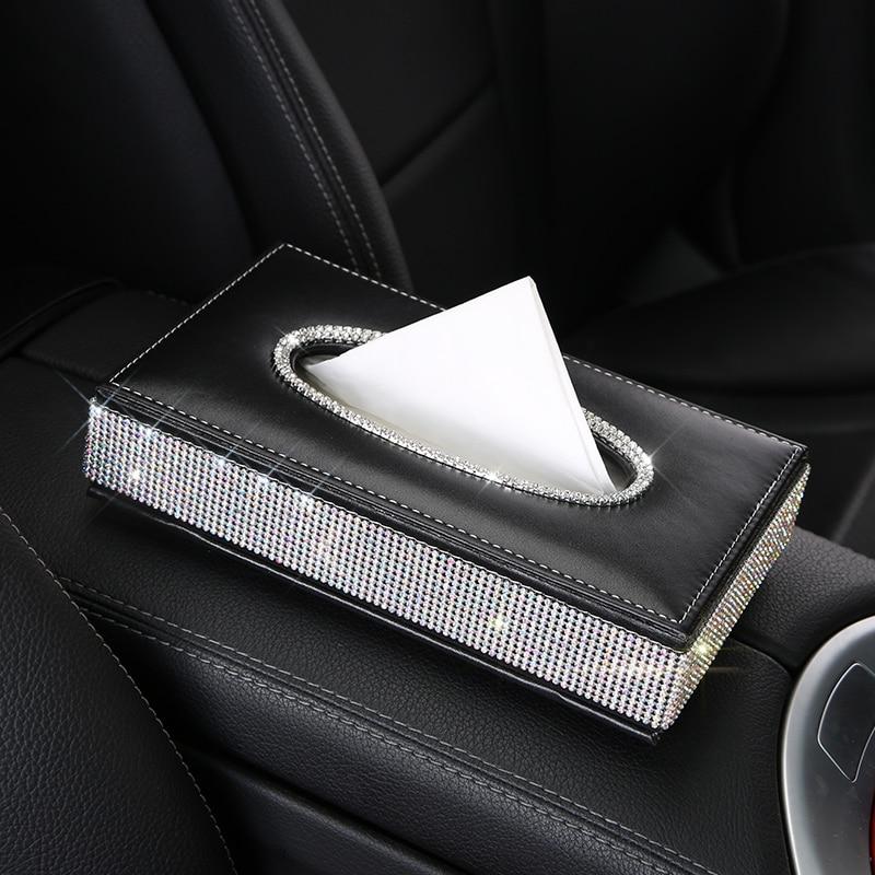 Crystal Diamond Leather Car Tissue Box Holder Rhinestone Auto Armrest Box Block Type Paper Towel Case Covers Car Organizers