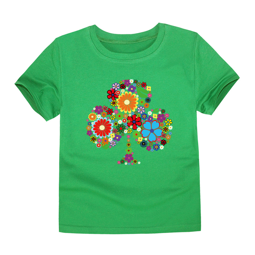 2018 Summer Clothing for Kids Children Floral Tee Baby Girls Three Lucky Flower T Shirts Girls