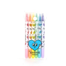 48 pcs/Lot Love smile Color highlighter pen Thick marker Fine liner Dual side writing Office accessories School supplies FB688