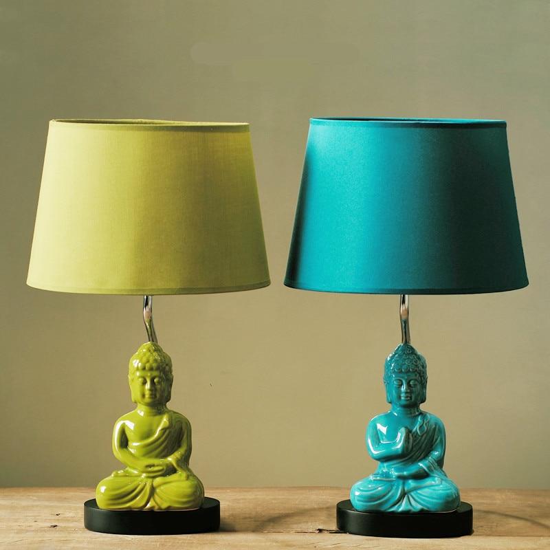 Modern Creative Exotic Sountheast Asia Ceramic Buddha Fabric Led E14 Table  Lamp For Living Room Bedroom