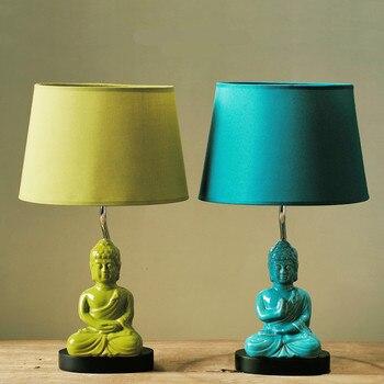 Moderno Creativo Esotico Sountheast Asia Buddha In Ceramica Tessuto Led E14 Lampada Da Tavolo Per Soggiorno Studio Camera Da Letto Deco H 45 cm 1250