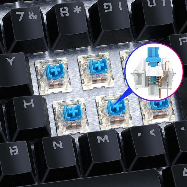 Gaming Mechanical Keyboard USB Wired Anti-ghosting Metal Panel Colorful Backlight Keyboard Crystal Plating Keys Russian Sticker 3