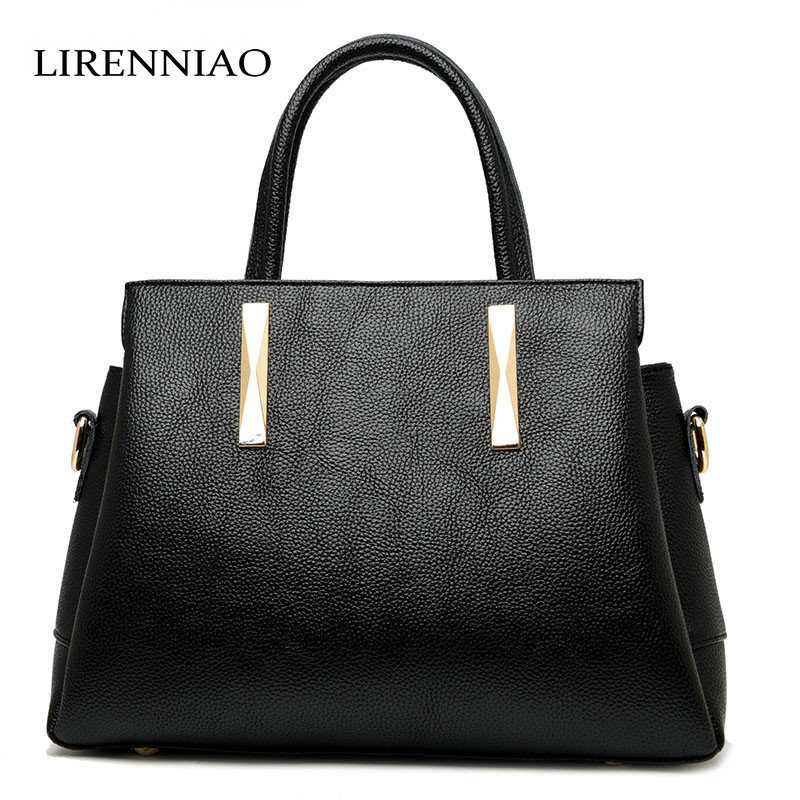LIRENNIAO New fashion women's shoulder bags and handbags famous brand women Cow leather bag bolsas female crossbody bag tote 2017 woman bag fashion designers famous brand bolsas femininas casual bag v metal tote leather bag lady crossbody shoulder bags
