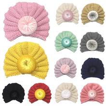 Sweet Baby Hat for Girls Knit Beanie with Donut Kids Cap Turban Hats Newborn Photo Props