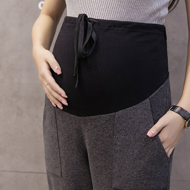 Pregnancy Pants Fashion Autumn Winter Solid High Waist Pockets Maternity Trousers Fall Casual Lace Up Pants For Pregnant Women in Pants Capris from Mother Kids
