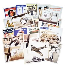 32 Pcs/pack Vintage Poster Drawing business cards Greeting Postcards Set Gift WW2 Military Theme Classic Card(China)