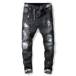 الرجال الجينز السراويل الذكور الجينز موديس ممزق لصق الطلاء سستة jeansmen الملابس 2019 الشارع الشهير للشتاء نحيل رمادي الورك هوب