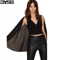 JYSS  European V neck batwing sleeve women blouses personality pure chiffon black short blouse for girl 80597#