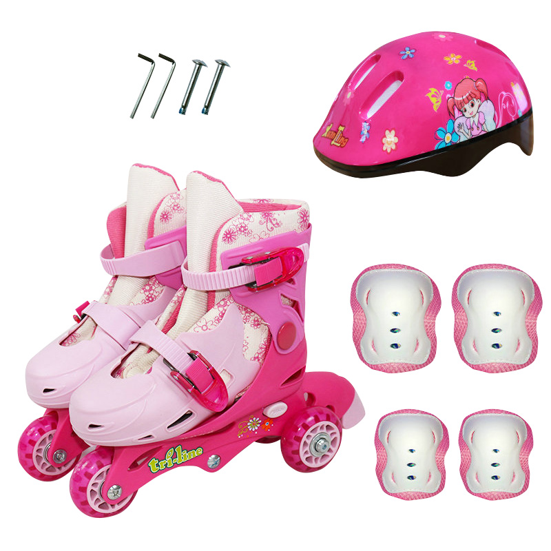Children 3 Wheels On-line Ice Skates Roller Skates Skating Shoes Mappable Adjustable Washable Kids Roller Skate roller shoes inline skates jump sports skate shoes for kids children jumper skating equipment orange pink size adjustable changeable roller page 5 page 3