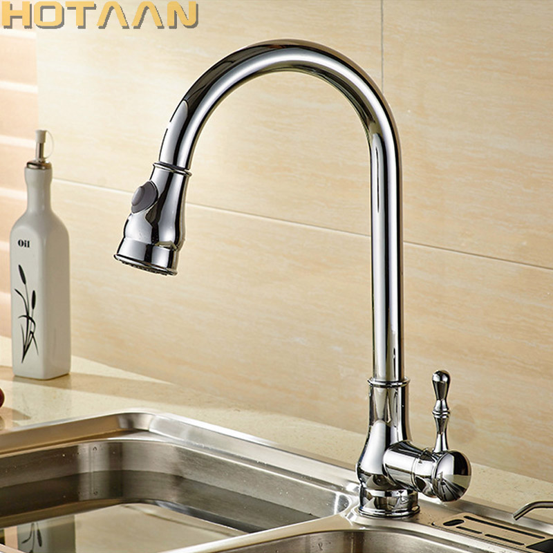 Pull Out Kitchen Faucet Free Shipping Chrome Plated Brass Pull Down Kitchen Mixer Swivel Spray Sink Mixer Hot and Cold Water Tap pull out kitchen faucet brass single holder put down hot and cold water mixer sink tap black