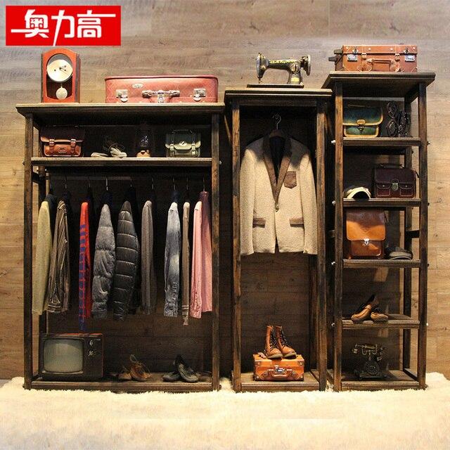 vintage clothing store racks shelf solid wood floor wall showcase rh aliexpress com Garment Rack with Shelves Bin Rack 5 Shelves