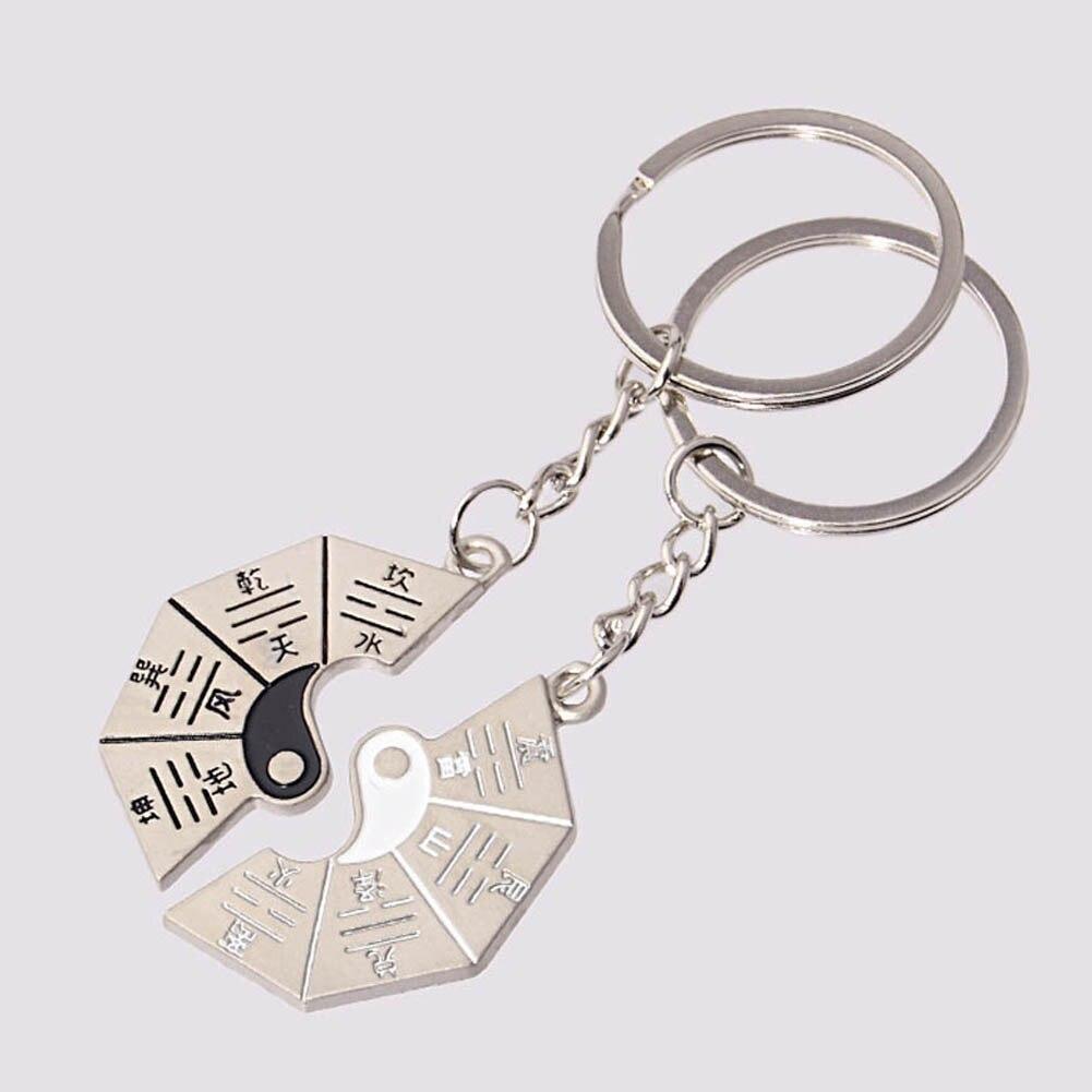 Partner Schlüsselanhänger Ying Yang Metall Silber in Geschenkbox