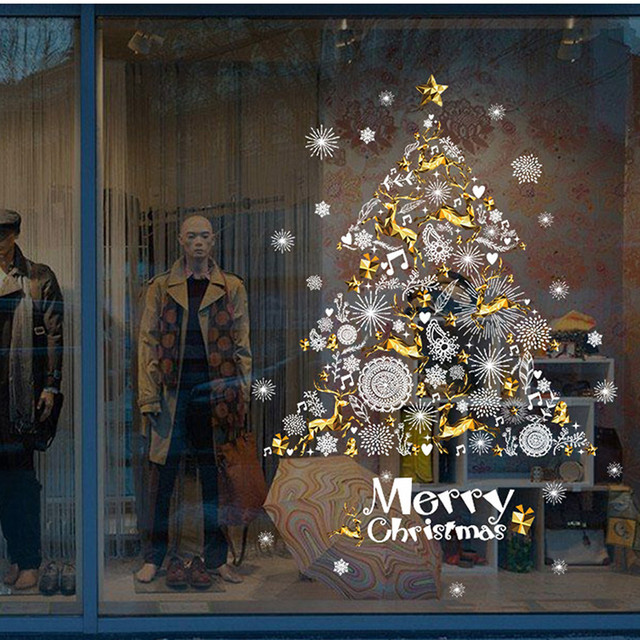 2018 Christmas Wall Stickers Deer Christmas Tree Shop Window