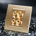 Golden Color Hifi Audio 86mm Socket With 4 Slots Wall Panel Quality For Home Cinema System Free Shipping